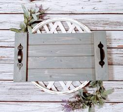 rustic serving tray gray 18 x 10