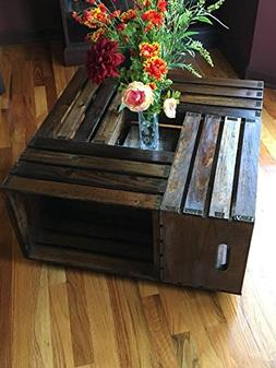 Rustic Square Crate Style Wood Like Coffee Table with Open S