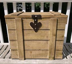 Rustic Storage Trunk Distressed Wood Look MDF Chest Weathere