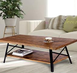 Rustic Wood Coffee Table with Shelf Storage Industrial Metal