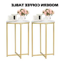 Set of 2 Modern White Marble Coffee Table Gold Metal Frame L