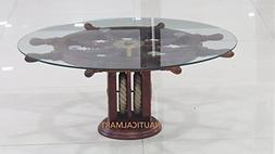 "36"" Ship Wheel Table With Wooden Pulley Base Home Decor"