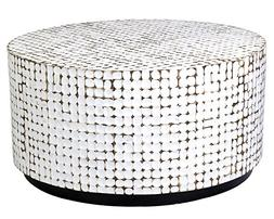 East At Main Silvia White Contemporary Round Coconut Shell C