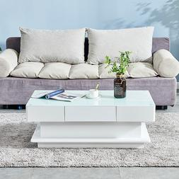 Simple Coffee End Table White High Gloss Glass Top Living Ro