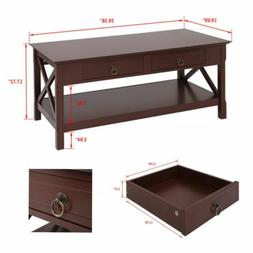 Simple Solid Wood Foot Structure Coffee Table with Two drawe