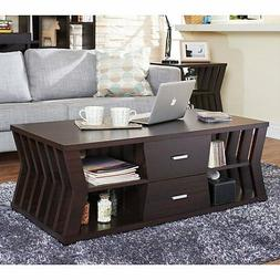 Furniture of America Slatted Panel Coffee Table, Brown
