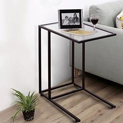 """TANGKULA 26"""" Snack Table Solid Glass Heavy Duty Portable Liv"""