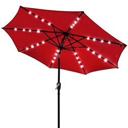 Yeshom 9' Outdoor Solar Powered LED Umbrella 8 Ribs w/32 Lig