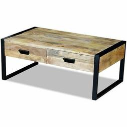 vidaXL Solid Mango Wood Coffee Table Storage Drawers Living