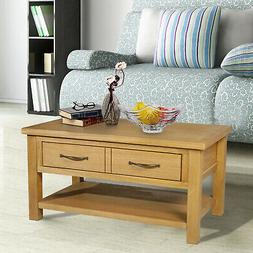 HOMCOM Solid Oak Frame Rectangle Coffee Table with Drawer an