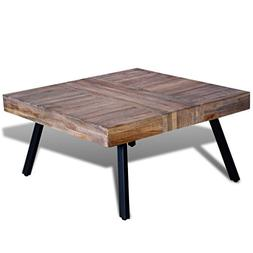 Festnight Solid Square Coffee Side Table Reclaimed Teak Wood