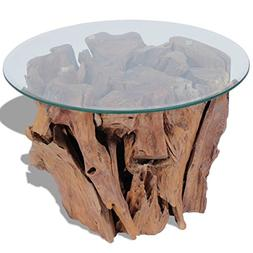 Festnight Solid Wood Round Coffee Side Table with Strong Tem
