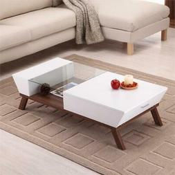 Furniture of America Soto Coffee Table with Storage in White