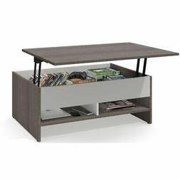 Bestar Small Space Lift-Top Coffee Table in Bark Gray and Wh