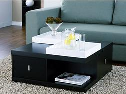 Space Saving Black Coffee Table with Drawers & Serving Trays