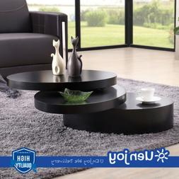 Square Black Coffee Table Rotating Contemporary Modern Livin
