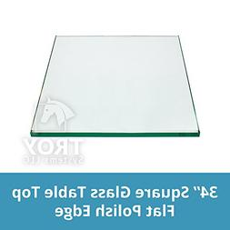 Square Glass Table Top 34 Inch Custom Annealed Clear Tempere