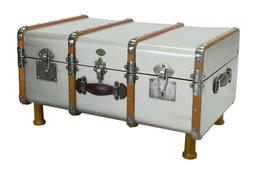 """Stateroom Trunk Silver 32.3"""" Steamer Travel Coffee Table Woo"""
