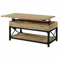 Sauder Steel River Wood and Metal Lift-Top Coffee Table in M