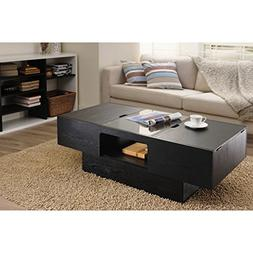 Furniture of America Stevie Black Finish Hidden Storage Rect