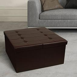 """Otto & Ben 30"""" Storage Coffee Table with Smart Lift Top Tuft"""