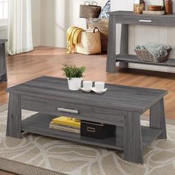 Storage End Sofa Coffee Table with Drawer and Bottom Shelf,