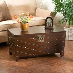 Southern Enterprises Storage Trunk Coffee Table Equipped wit