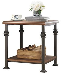 O&K Furniture End Table with Lower Shelf, Wood and Metal Sid