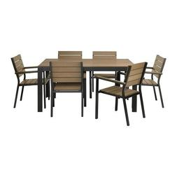 IKEA Table+6 armchairs, outdoor, black, brown 82020.1188.103
