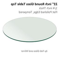 "22"" Inch Round Glass Table Top 1/4"" Thick Flat Polish Edge T"