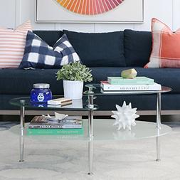 Table for Living Room Coffee Glass Top Set Oval With Shelf F