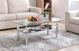 Tempered Glass Coffee Table Shelf Contemporary Cocktail Chro