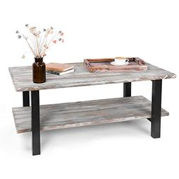 MyGift 42-Inch Torched Wood Industrial Coffee Table with Sto