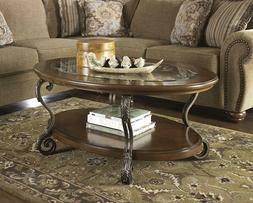 Traditional Style Rustic Glass Top Oval Coffee Table Elegant