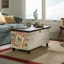 Trunk Coffee Table On Wheels With Storage Rolling Chest Whit
