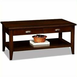 Bowery Hill Two Drawer Solid Wood Coffee Table in Chocolate