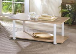 Two Tier Coffee Table Light Wood on White Frame Contemporary