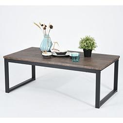 Vintage Dark Brown Black Metal Frame Cocktail Coffee Table 4
