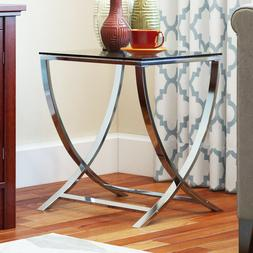 Vivien Glass Accent End Side Table Living Room Coffee Sofa T