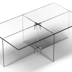 Walker Edison Rectangle 42'' Coffee Table with Transparent G