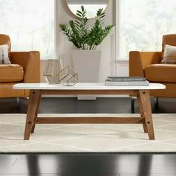 "Walker Edison Rectangle Coffee Table 49"" with Wood Base, Fau"