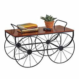 Walnut Finish Classic Wagon Wheels Coffee Table