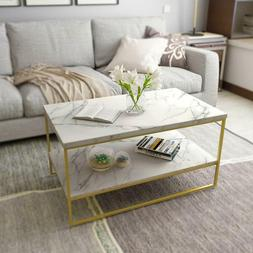 Roomfitters White Marble Print Coffee Table with Gold Metal