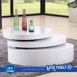 White Round Coffee Table Rotating Contemporary Modern Living