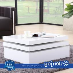 White Square Rotating Coffee Table Contemporary Living Room