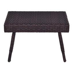Tangkula Outdoor Wicker Table Patio Poolside Lawn Garden Rat