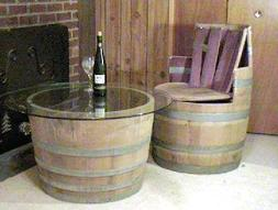 Wine Barrel Coffee table base only, lacquer finished for ind