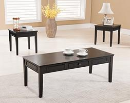Kings Brand Furniture 3 Piece Wood Coffee Table & 2 End Tabl