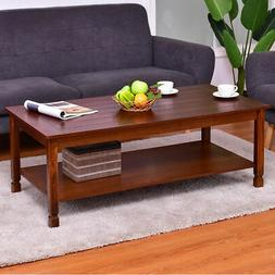 Wood Coffee Table Cocktail Table Rectangle w/ Storage Shelf
