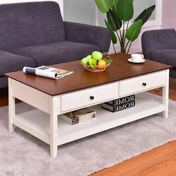 Wood Coffee Table Cocktail Table Rectangle w/ Drawer & Stora